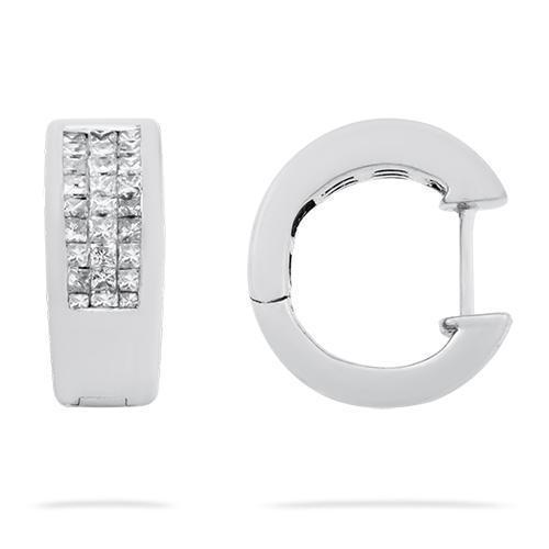 White Invisible Set Diamond Huggie Earrings in 14k White Gold 0.75 Ctw