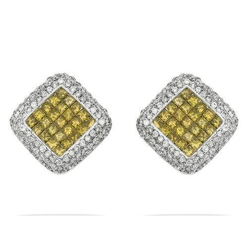 Invisible Set Yellow Diamond Omega Back Earrings 3 Ctw