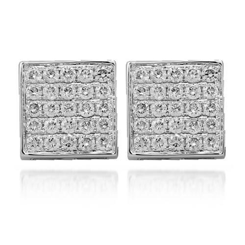 White One Carat Square Pave Diamond Earrings in 14k White Gold