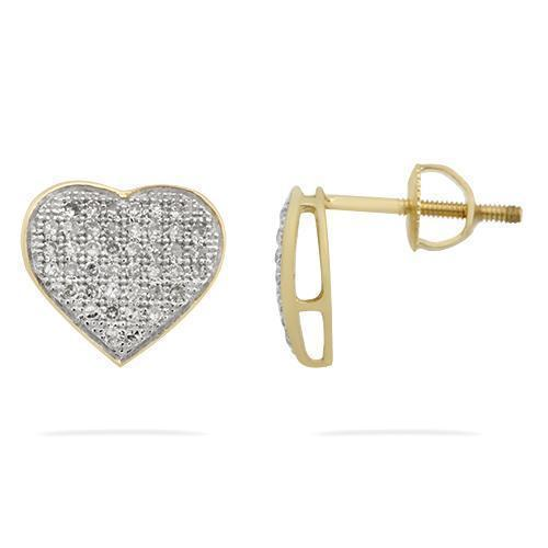 Yellow Pave Diamond Heart Earrings in 10kt Yellow Gold Screw Back