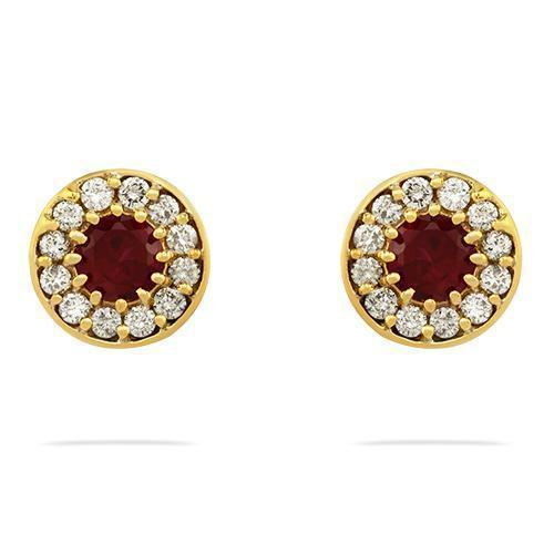 Yellow Round Ruby Halo Earrings in 14k Yellow Gold 2.50 Ctw