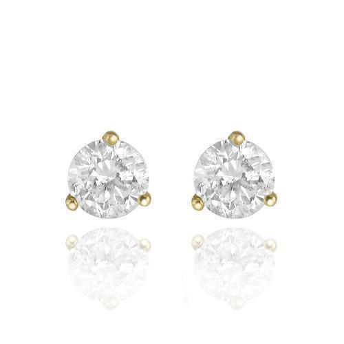 Solid Yellow Gold GAI Certified  Diamond Stud 3-Prong Earrings 3.01 Ctw