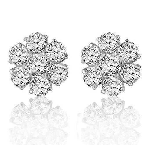White Solid Gold Round Cut Prong Diamond Cluster Earrings 6.50 Ctw
