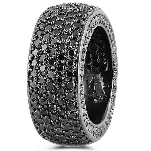10K Solid Gold Black Rhodium Plated Mens Custom Black Diamond Eternity Ring Band With Side Stones 7.50 Ctw