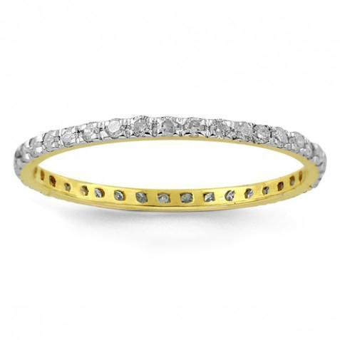 10K Yellow Solid Gold Womens Diamond Eternity Band 0.38 Ctw