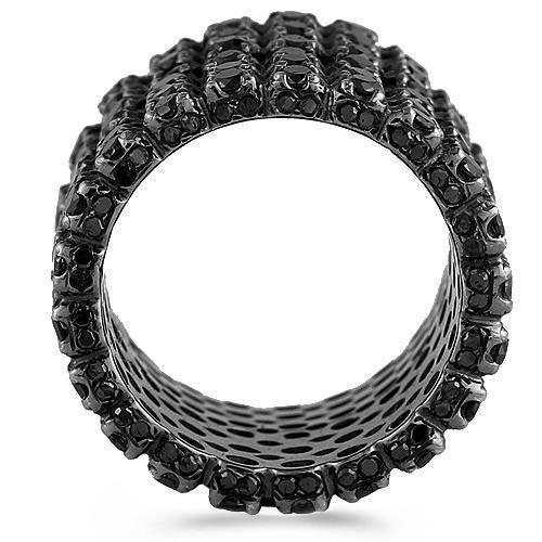 14K Black Rhodium Mens Diamond Eternity Ring Band With Black Diamonds 7.14 Ctw