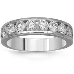 14K Solid White Gold Mens Diamond Eternity Band 6.20 Ctw
