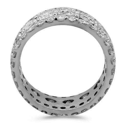 14K Solid White Gold Mens Diamond Eternity Ring Band 9.00 Ctw