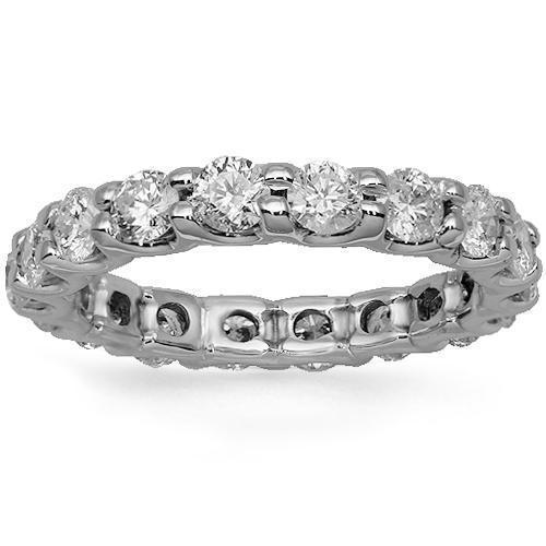 14K Solid White Gold Womens Diamond Eternity Ring Band 2.75 Ctw