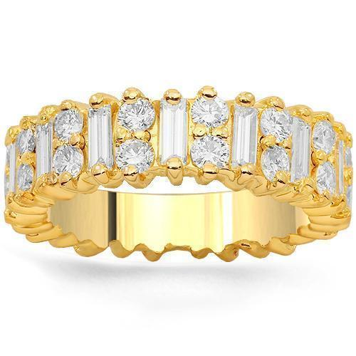 14K Solid Yellow Gold Womens Diamond Eternity Ring Band 2.50 Ctw