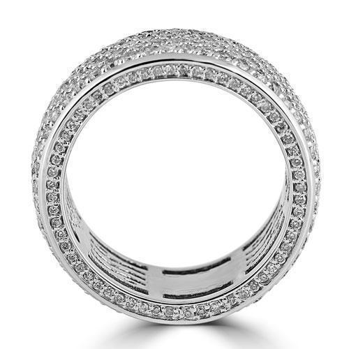 14K White Solid Gold Large Mens Diamond Pave Eternity Ring Band 5.50 Ctw