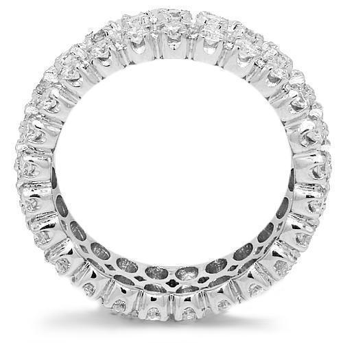 14K White Solid Gold Mens Diamond Eternity Ring Band 3.73 Ctw