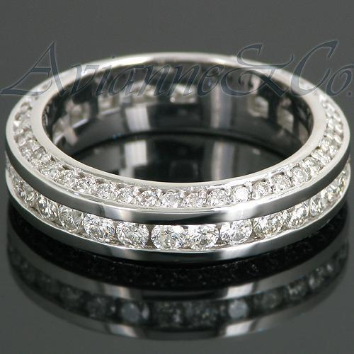 14K White Solid Gold Womens Diamond Eternity Ring Band 1.30 Ctw