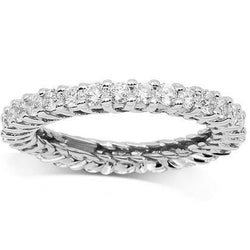 14K White Solid Gold Womens Diamond Eternity Ring Band 1.31 Ctw