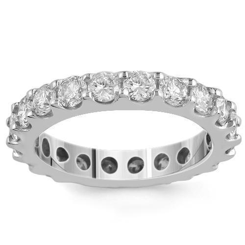14K White Solid Gold Womens Diamond Eternity Ring Band 1.50 Ctw