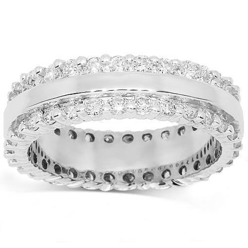 14K White Solid Gold Womens Diamond Eternity Ring Band 1.59 Ctw