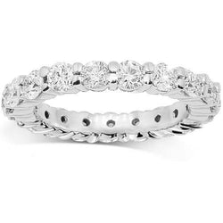 14K White Solid Gold Womens Diamond Eternity Ring Band 2.31 Ctw