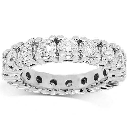 14K White Solid Gold Womens Diamond Eternity Ring Band 2.50 Ctw