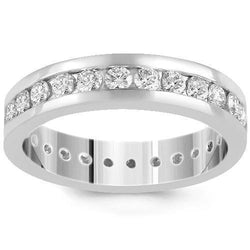 14K White Solid Gold Womens Diamond Eternity Ring Band 2.56  Ctw