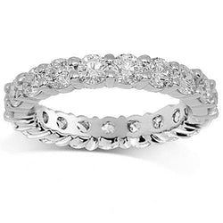 14K White Solid Gold Womens Diamond Eternity Ring Band 2.59 Ctw