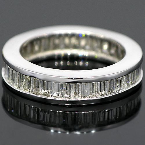 14K White Solid Gold Womens Diamond Eternity Ring Band 2.93 Ctw