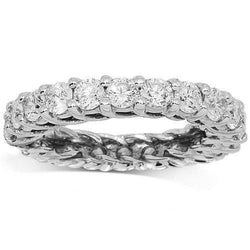 14K White Solid Gold Womens Diamond Eternity Ring Band 3.00 Ctw