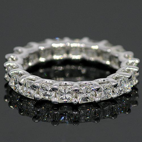 14K White Solid Gold Womens Diamond Eternity Ring Band 3.01 Ctw