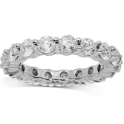 14K White Solid Gold Womens Diamond Eternity Ring Band 3.35 Ctw