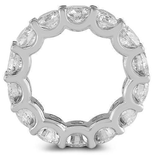 14K White Solid Gold Womens Diamond Eternity Ring Band 7.95 Ctw