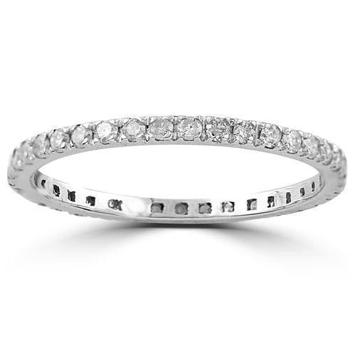 14K White Solid Gold Womens Diamond Petite Pave Eternity Band 0.37 Ctw