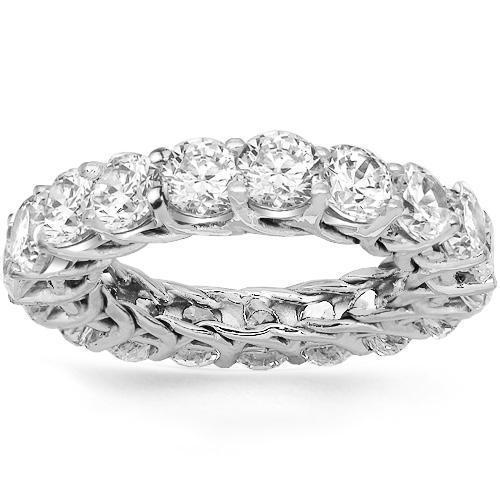 14K White Solid Gold Womens Diamond Prong Eternity Ring Band 6.75 Ctw
