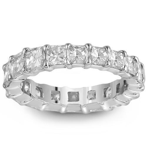 14K White Solid Gold Womens Eternity Ring Band with Princess Cut Dimonds 4.50 Ctw