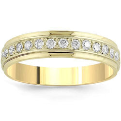 14K Yellow Solid Gold Mens Classic Diamond Eternity Ring Band 1.50 Ctw