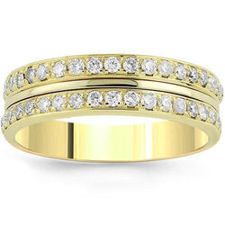 14K Yellow Solid Gold Mens Diamond Custom Designed Eternity Ring Band 1.25 Ctw