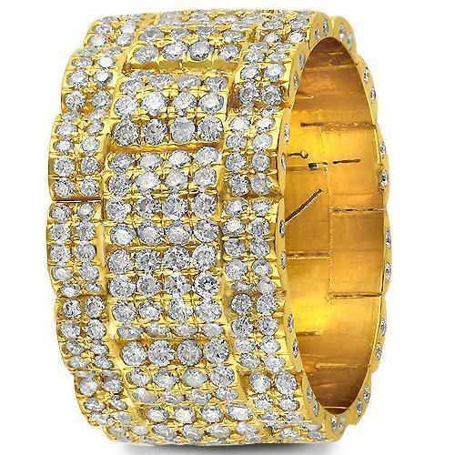 14K Yellow Solid Gold Mens Diamond Eternity Ring 6.00 Ctw