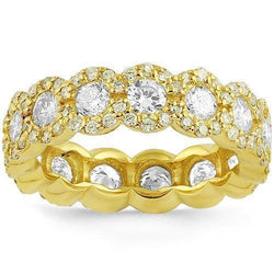 14K Yellow Solid Gold Womens Custom Designed Flower Diamond Eternity Ring Band 3.00 Ctw