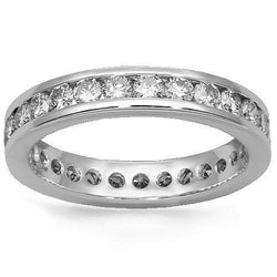 18K Solid White Gold Mens Diamond Eternity Ring Band 1.90 Ctw