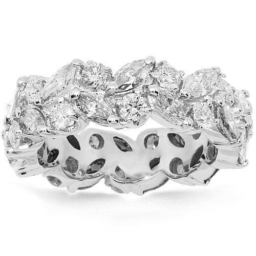 18K White Solid Gold Womens Diamond Eternity Band 4.50 Ctw