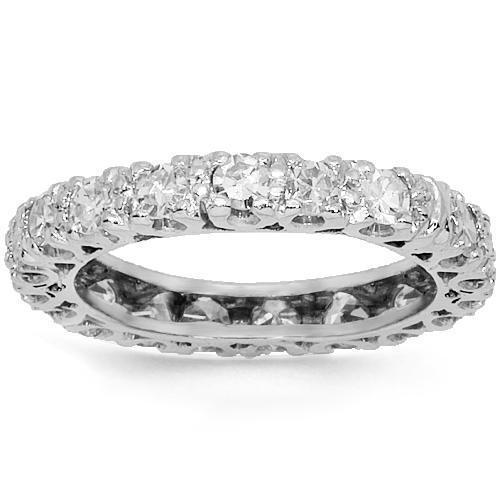 18K White Solid Gold Womens Diamond Eternity Ring Band 2.00 Ctw