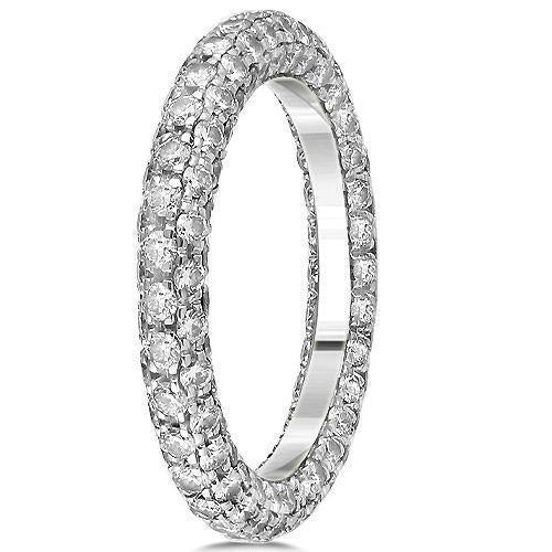 18K White Solid Gold Womens Diamond Eternity Ring Band 2.57 Ctw