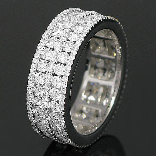 18K White Solid Gold Womens Diamond Eternity Ring Band 2.61 Ctw