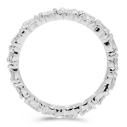 18K White Solid Gold Womens Diamond Eternity Ring Band 2.80 Ctw
