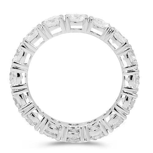 18K White Solid Gold Womens Diamond Eternity Ring Band 4.00 Ctw