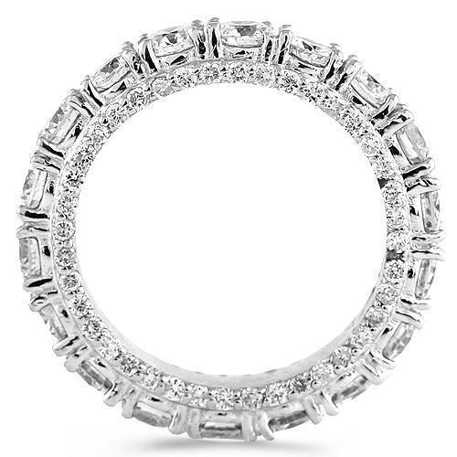 18K White Solid Gold Womens Diamond Prong Eternity Ring Band With Stones On Sides 3.00 Ctw