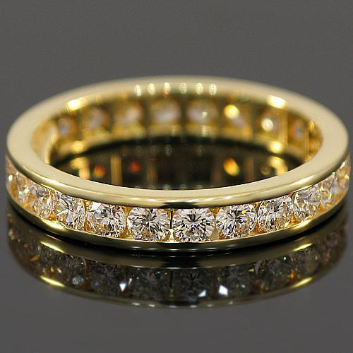 18K Yellow Solid Gold Womens Diamond Eternity Ring Band 2.50 Ctw