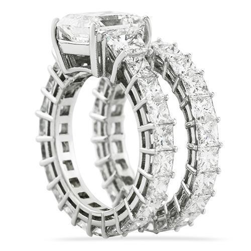 Diamond Princess Cut  Eternity Ring Set in 18k White Gold 14.43 Ctw