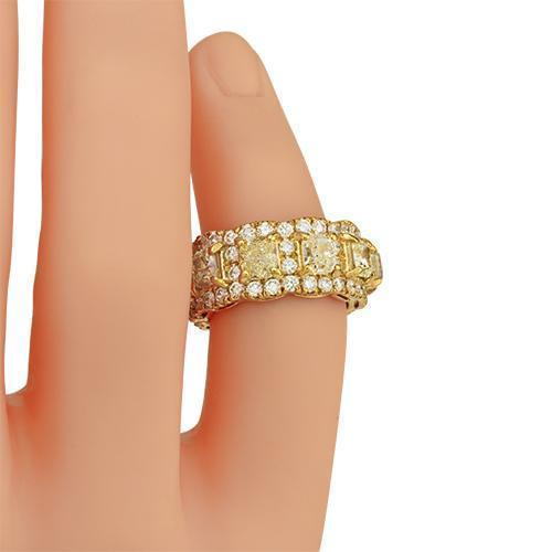 Fancy Yellow Cushion Cut Diamond Eternity Band in 14k Yellow Gold 9.50 Ctw