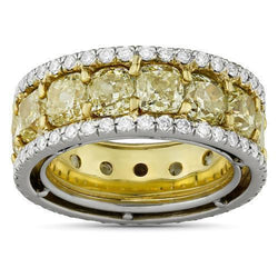 Fancy Yellow Cushion Cut Diamond Eternity Band in Platinum and 18k Yellow Gold 12.47 Ctw