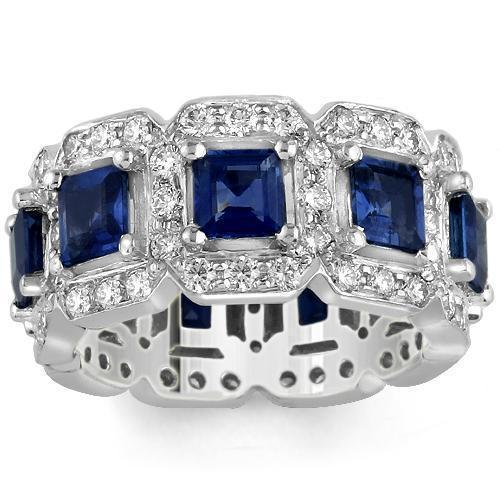 Platinum Womens Diamond Sapphire Eternity Ring 6.50 Ctw
