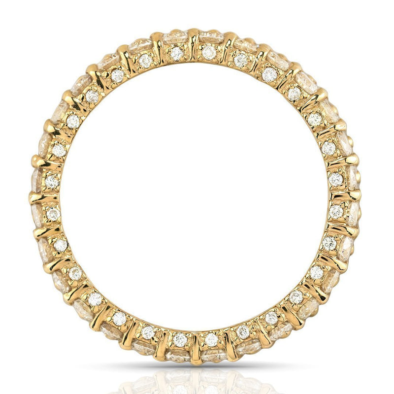 Triple Row Diamond Eternity Wedding Band Ring in 14k Yellow Gold 4.77 Ctw
